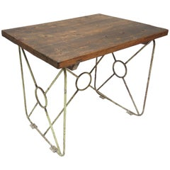 French Iron and Oak Kitchen Work Table, circa 1920