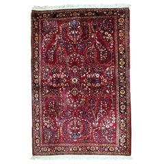 Handmade Antique Sarouk Style Rug, 1920s, 1B736