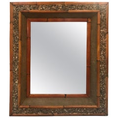 Bamboo and Pebble Framed Mirror