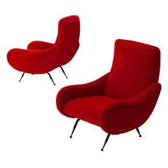 Italian Modern Red Velvet Armchairs, 1950s
