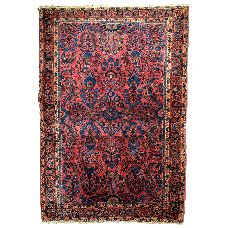 Handmade Antique Sarouk Style Rug, 1910s, 1B737