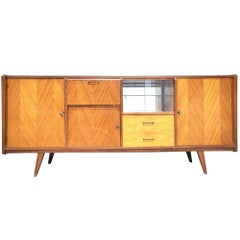 French Midcentury Credenza or Sideboard with Bar and Showcase, circa 1960