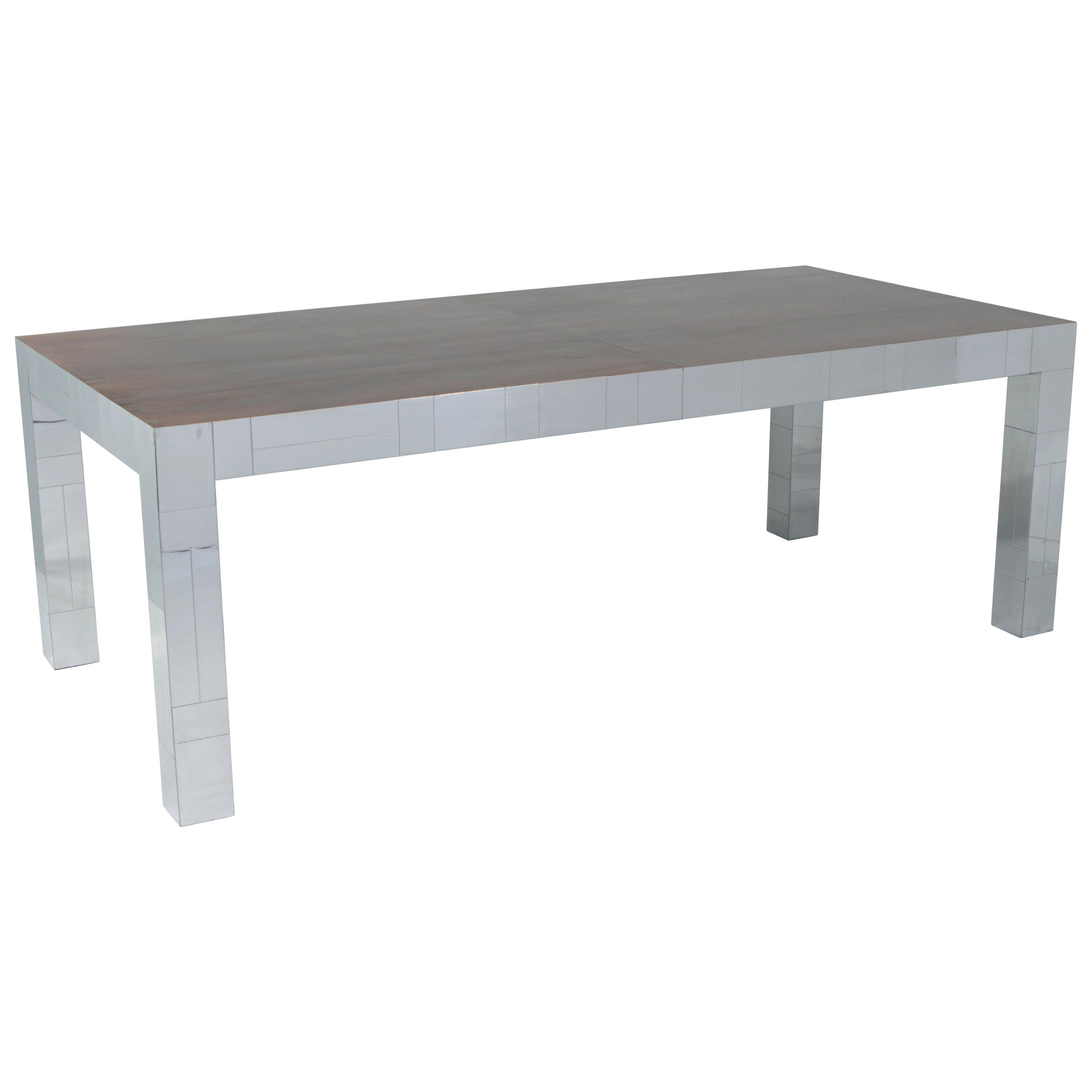 Paul Evans Chrome Cityscape Dining Table with Rosewood Top