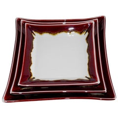 Set of Japanese Hand-Glazed Red Porcelain Square Plates by Contemporary Artist