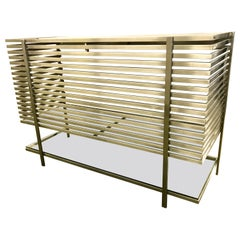Mid-Century Modern Style Laser Cut Steel, Glass and Chrome Dry Bar