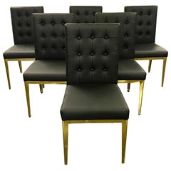 Set of Six Contemporary Brass and Black Leather Dining Chairs
