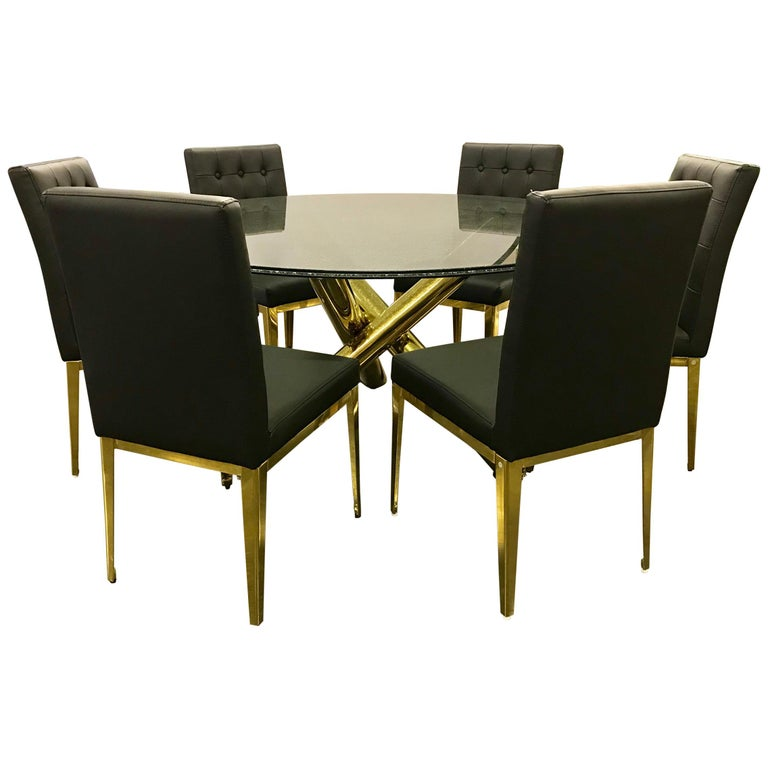 Round Gl And Br Dining Table 6 Black Leather Chairs