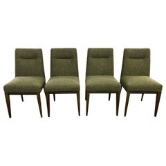 Set of Four Calligaris Italy Olive Tweed Weave Upholstered Dining Chairs