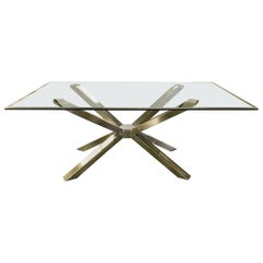 Mid-Century Modern Style Glass and Chrome Sculptural Dining Table