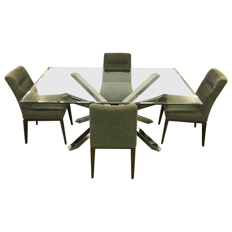 Glass and Chrome Dining Table and 4 Calligaris Chairs For Sale