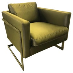 Mid-Century Milo Baughman Style Olive Silk Cantilevered Lounge Chair
