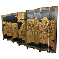Asian Coromandel Twelve-Panel 9 Ft. Carved Screen Room Divider Extra Large