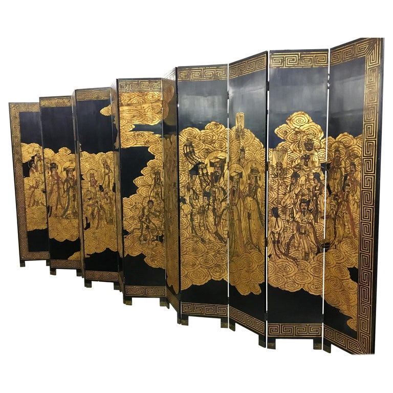 Asian Coromandel Twelve-Panel 9 Ft. Carved Screen Room Divider Extra Large For Sale