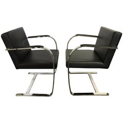 Pair of Brno Black Leather and Chrome Cantilever Chairs Mies van der Rohe