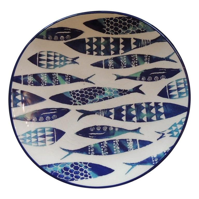 Set of 4 Crackle Ceramic Dinner Fish Plates For Sale