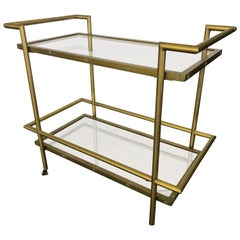 Brass and Gold Chrome Rolling Dry Bar Cart Tea Coffee Service