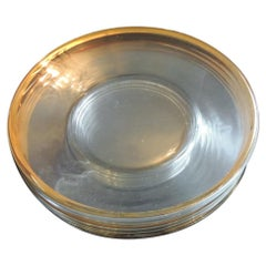 Set of 6 Glass Round Clear Dessert Plates with Gold Rim