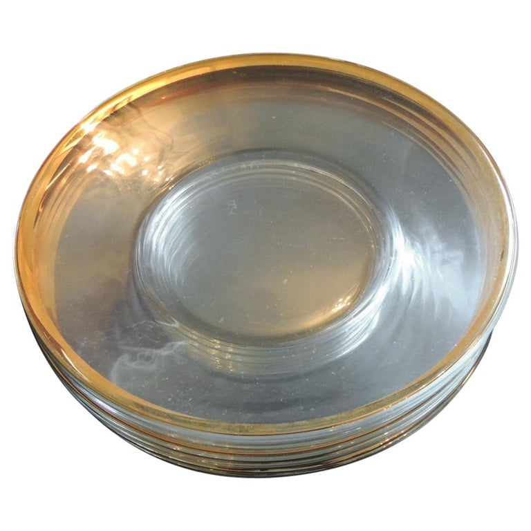 Set of 6 Glass Round Clear Dessert Plates with Gold Rim For Sale