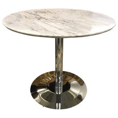 Mid-Century Modern Style Marble and Chrome Pedestal Bistro Tulip Table