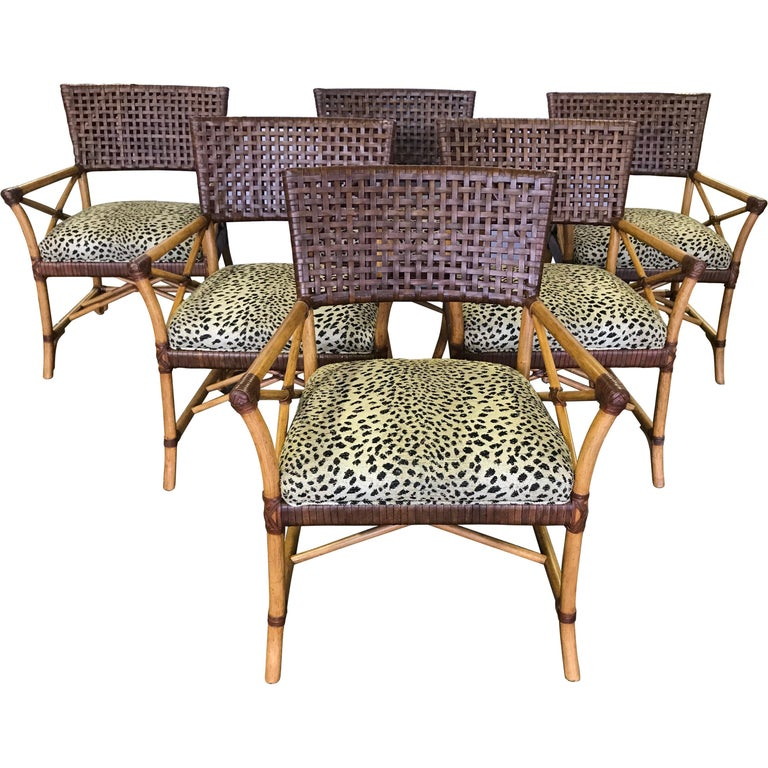 Set of Six Bamboo Rattan and Woven Leather Dining Chairs For Sale