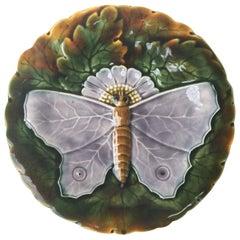 Majolica Gray Butterfly Plate Josef Steidl Znaim, circa 1890