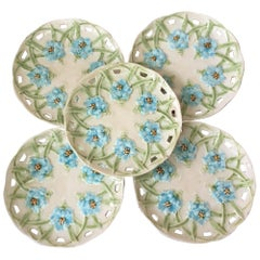 German Majolica Reticulated Blue Flowers Plate, circa 1890