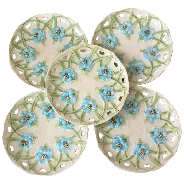 German Majolica Reticulated Blue Flowers Plate, circa 1890 For Sale