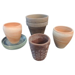 Set of 7 Garden Decor Clay Assorted Planters with Glass Saucers