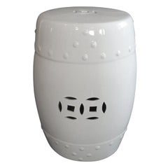White Glazed Round Asian Export Ceramic Garden Stool