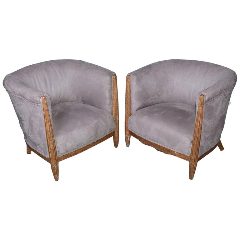 French Art Deco Barrel Back Club Chairs For Sale
