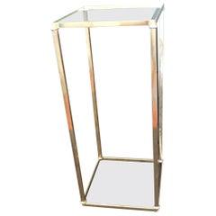 Vintage Polished Brass Square Drinks Table/Pedestal