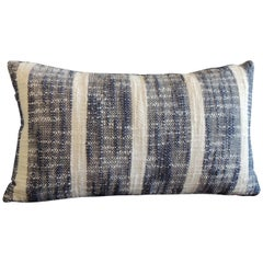 Vintage Woven Blue and White Stripes Petite Lumbar Decorative Pillow