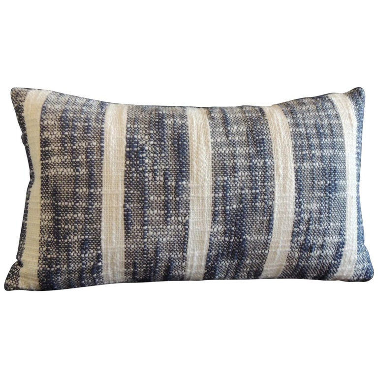Vintage Woven Blue and White Stripes Petite Lumbar Decorative Pillow For Sale