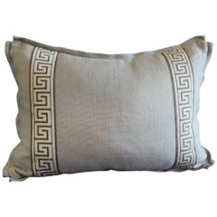 Gray and Blue with Greek Key Trim Decorative Linen Bolster Pillow