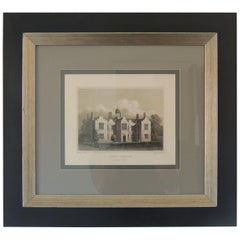 English Manors Engraving Reproduction in Black and White Framed #1