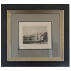 English Manors Engraving Reproduction in Black and White Framed #4