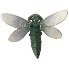 Majolica Dragonfly Wall Pocket Fives Lille, circa 1900