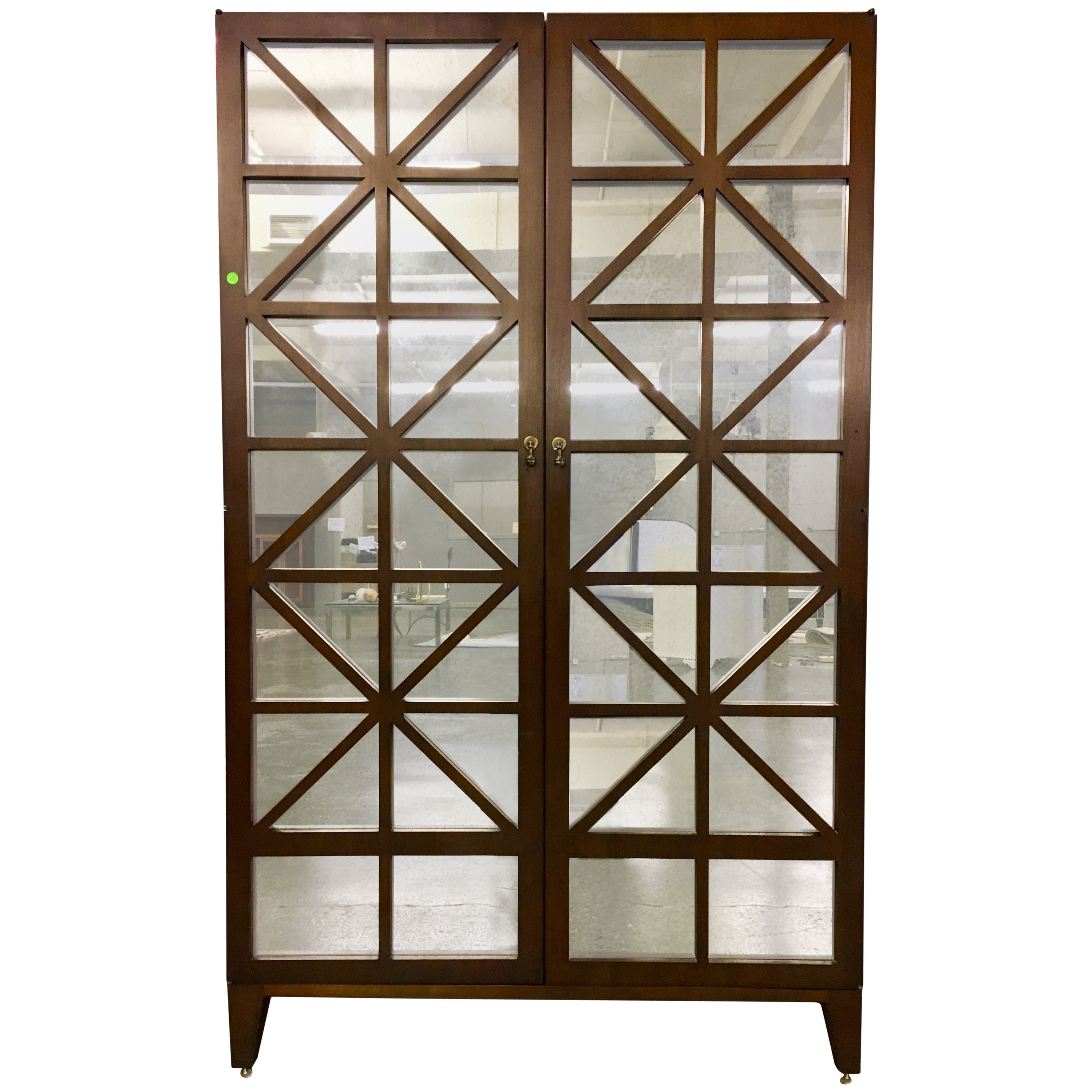 Hickory Chair Furniture Mirrored Armoire Cabinet Credenza Breakfront