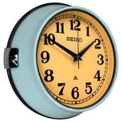 1970 Seiko Blue & Tobacco Retro Vintage Industrial Antique Steel Quartz Clock