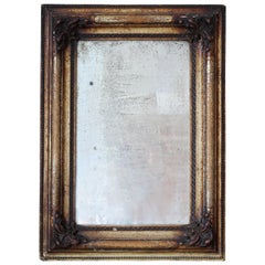 Antique Wall Mirror in Wooden Decorative Frame, circa 19th Century