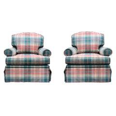 Brunschwig & Fils Custom Oxford Armchair Cotton Check, Down, Plaid, Pink, Teal
