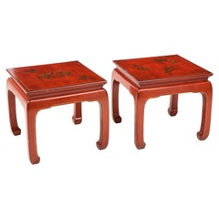 Pair of Red Lacquered Chinoiserie End Tables