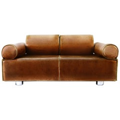 Midcentury Marzio Cecchi Italian Cognac Two-Seat Sofa Daybed Loveseat, 1960s
