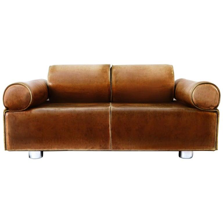 Midcentury Marzio Cecchi Italian Cognac Two-Seat Sofa Daybed Loveseat, 1960s  For Sale