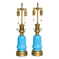 Pair of Opaline Glass Lamps