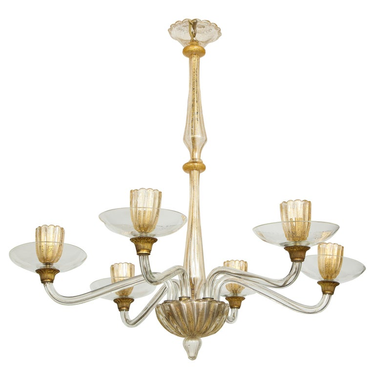 Vintage Over-Sized Six-Arm Murano Chandelier For Sale