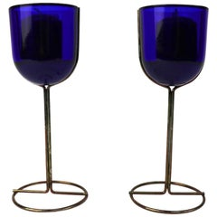 Pair of Cobalt Wine Goblet Candlesticks by Ittala