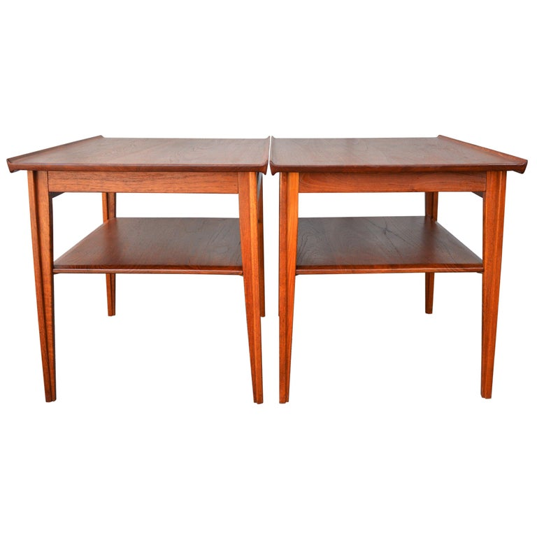 Pair of Finn Juhl Solid Teak Side Tables with Shelves Model 535 for France & Son For Sale