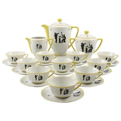 Limoges France Hand Painted Porcelain Tea or Coffee Service Set Jazz Band Design