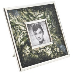 Italian Design Sterling Silver and Agate Stone Picture Photo Frame